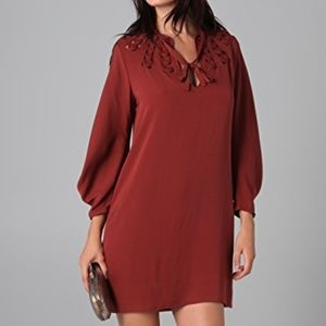 DVF Arria Embellished Dress in Chilli